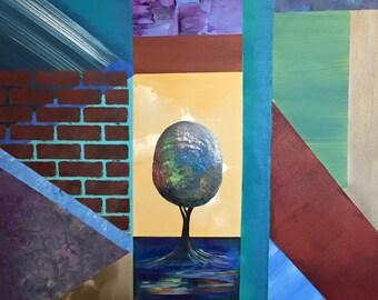 "Sale- Original 24"" x 24"" Square, Geometric Tree Painting, ""One"""