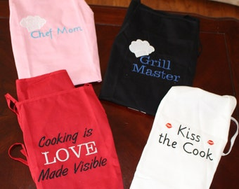 Adult aprons with embroidered sayings