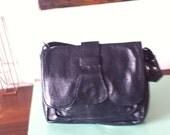Vintage 70s blue leather handbag evening purse grab purse shoulder bag