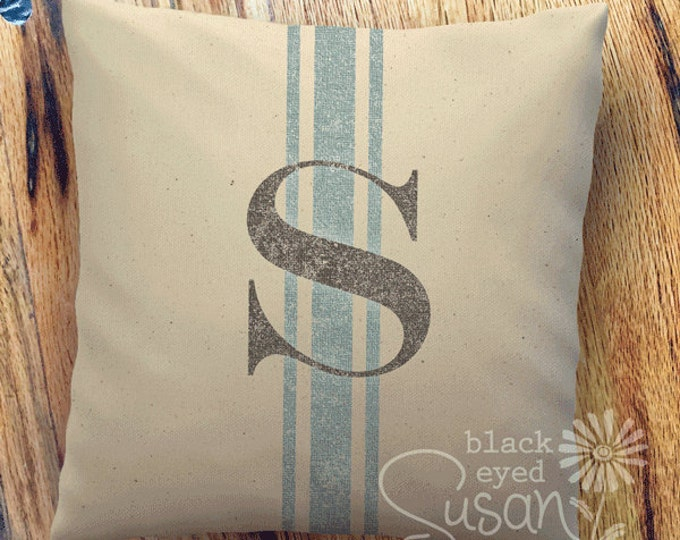 "Distressed Monogram w/ French Stripe Pillow Cover | Natural Canvas or Lined Burlap | 12""x12"" 16""x16"" 20""x20"" 
