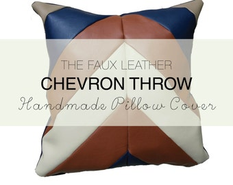 Handmade Faux Leather Chevron Throw Pillow Cover