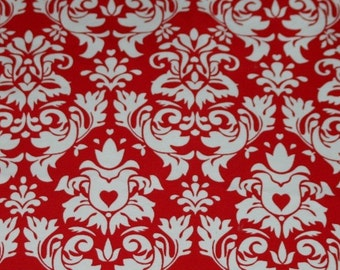 Knit Damask Red Fabric 1 yard