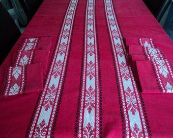 French vintage red cotton table cloth and 8 napkins (02875)
