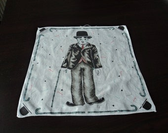 French vintage rare Charlie Chaplin white cotton handkerchief   (01781)