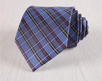 blue silk neckties.gingham ties for men.formal necktie.3 inch ties.plaid necktie.silk accessories.special gifts for groomsmen necktie+nt.92s