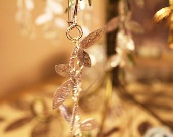 Ella's Silver Leaf Crochet Earrings /Gypsy Boho Fantasy Renaissance Festival Costume Gift