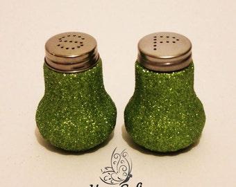 Glitter Salt & Pepper Shakers Set Lime Green