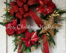 Christmas wreath red and gold poinsettia wreath floral wreath evergreen pine