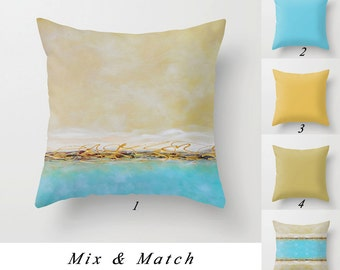 Coastal Pillow Covers, Blue Throw Pillow, Turquoise Pillow, Pale Yellow Pillow, Beach Pillows, Solid Pillows, Decorative Pillows Living Room