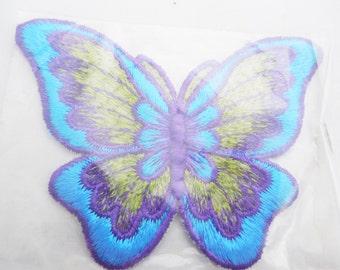 """Blue Butterfly Applique 4 1/2"""" x 3 1/4"""", Vintage Hippie Blue Purple and Green Butterfly, Vintage Appliques"""