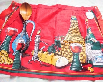 Beatrix Half Apron, Red and Wine Themed Apron from Munich Germany, Vintage New with Tag, Hand Painted Apron from Munich