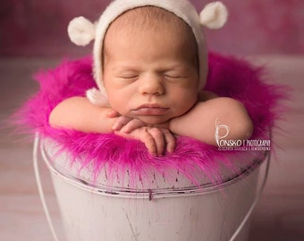 Hand felted Hat, Felted Teddy Bear Hat, Newborn Hat, Hand Felted Bonnet, Felted Hat, Photo Prop, Newborn Photography Prop, Funny Hat