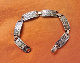 Amazing Vintage Egyptian Solid Sterling Silver Bracelet of Ancient Hieroglyphics...STAMPED