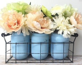 Wire Basket with Set of 3 Jars - Painted & Distressed Mason Jars - Table Centerpiece - Rustic Home Decor - Farmhouse Style - Country Decor