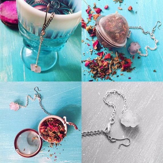 amethyst charm tea infuser with removable charm large or