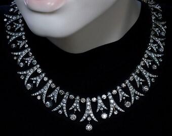 42 Ct Tw Vintage Diamond Fringe Necklace Early 1900s