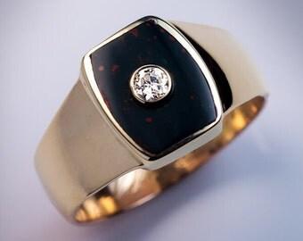 Antique Bloodstone Diamond Two-Color Gold Men's Ring