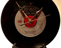 """Recycled ARETHA FRANKLIN 7"""" Record • I Say A Little Prayer • Record Clock"""