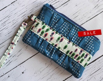 Gathered Clutch - Blue and Green - Sweet Clutches for everyday