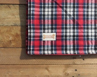 Soft Red/Blue/Black Checked Dog Blanket
