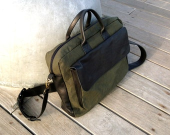 SALE!!! Men's Leather messenger bag Leather & waxed canvas messenger bag Men's Laptop bag Men's Macbook briefcase waxed canvas leather bag