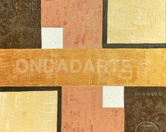 Framework, Paintings modern, geometric, contemporary, square, gold, copper, white