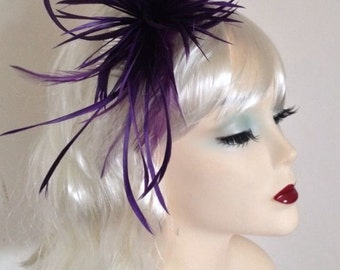Purple Feather Spray & Sinamay Comb Fascinator - Occasion Wedding Races
