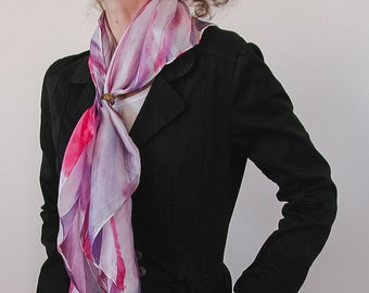 Modern Silk scarf, hand painted silk cover-up