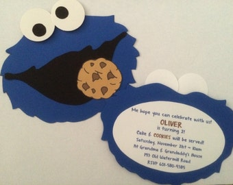 Cookie Monster-Inspired Sesame Street Party Invitation