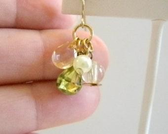 Gold Tone Green Beaded Dangle Earrings
