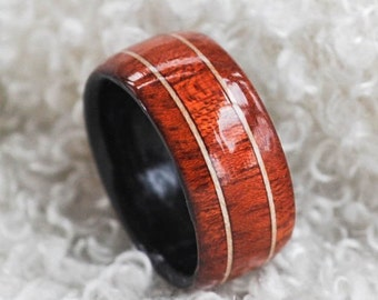 Size 10.5 - Wood Ring - Bloodwood, Maple Veneer Inlay |  Mens Wood Wedding Band | Wooden Rings For Men | 5th Anniversary Gift | Wooden Ring