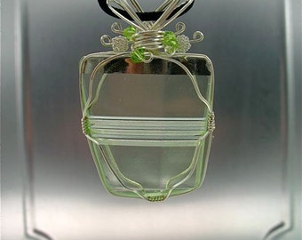 Vintage uranium glass pendant,Irish jewelry, silver wire wrapped, lime beads,pale green glass