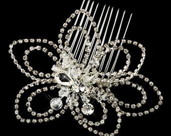 Paola Antique Swarovski Crystal & Rhinestone Flower Wedding Bridal Special Occasion Comb