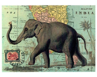 Elephant Poster, Vintage Elephant, Wall Decor, Elephant Wall Poster, Vintage Sign, Vintage Map, World Map, Vintage World Map, decoupage
