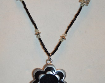 Flower Power-Black Beaded Necklace with Flower Pendant