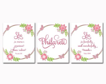Floral Nursery quotes Scripture prints christian wall art Baby girl room decor Inspirational artwork  Motivational poster shower gift name