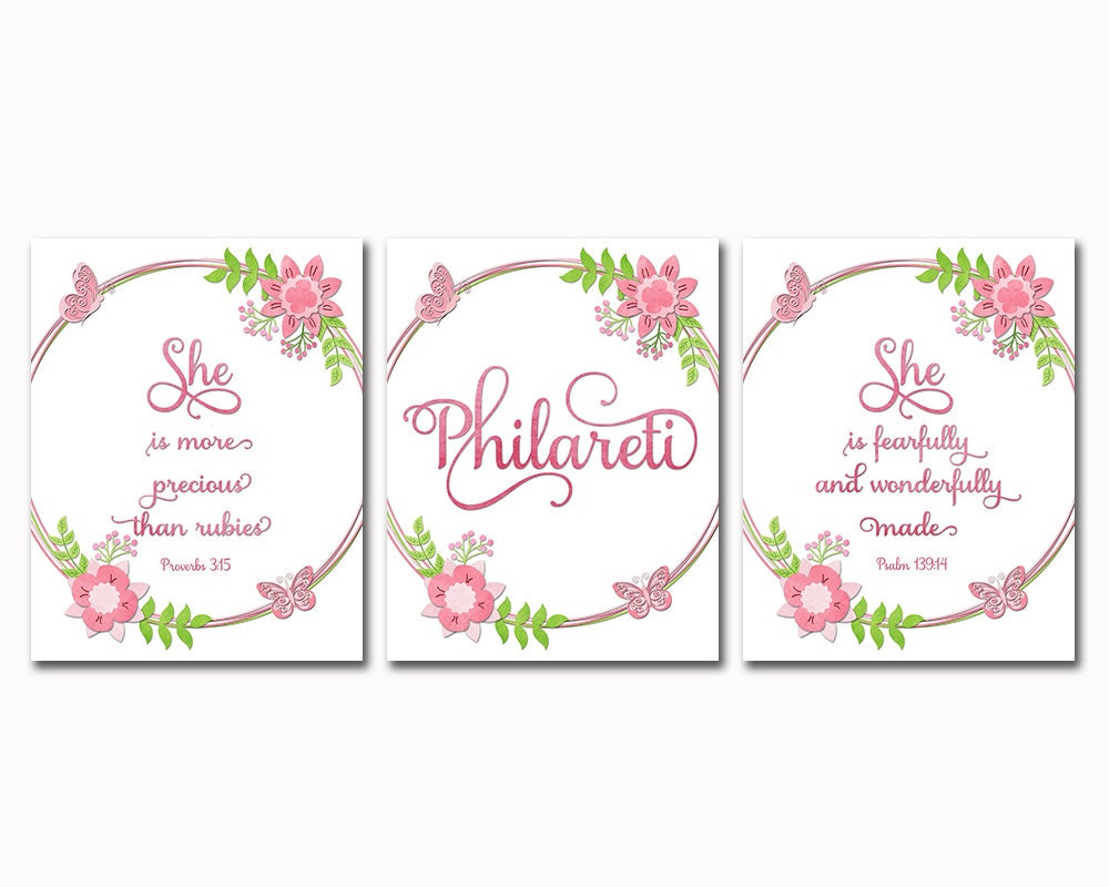 Christian Wall Decor For Nursery : Floral nursery quotes scripture prints christian wall art baby