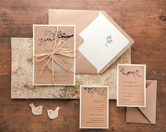 Rustic Wedding Invitation Suite (20), Wedding Invitations Rustic, Birds Wedding Invitations, Lovebirds Wedding Invitations, Wedding Invites
