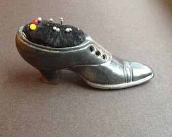 Antique Pewter Shoe Pincushion