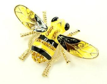 Bumble Bee Brooch Crystal Yellow Bee Broach Rhinestone Bumblebee Brooches Jewelry