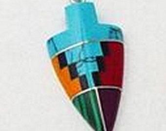 Large Inlay Arrow Pendant