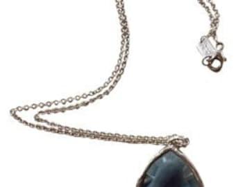 """Ippolita, Wonderland, Rock Candy, .925 Sterling Silver, Large blue Clear Quartz Teardrop, fashion, designer 18"""" Necklace"""