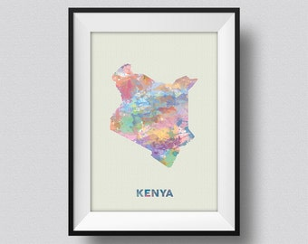 Kenya Watercolor Map Art Print Keyna Africa Ink Splash Poster Art Canvas, Kenya Watercolor Map, Kenya East Africa Map