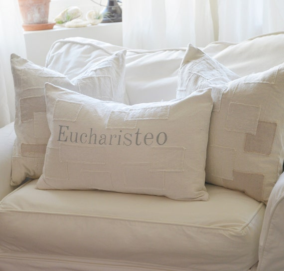 Eucharisteo grain sack style pillow cover. Abailanle in 16x16, 18x18, 20x20, 16x25 and 16x24