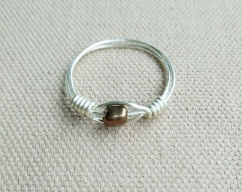 Minimalist Silver Ring - Bronze & Silver Ring - Simple Stack Ring- Brown Ring - Stackable Ring - Silver Ring - Midi Ring - Brown Beaded Ring