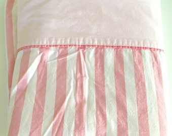 Vintage Twin Flat Sheet Pink and White Stripes Fabric All Cotton