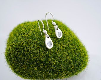 Simple Earrings, Minimal Silver Earrings, Everyday Dangle Earrings, Flush Set, Cz Drop Earrings