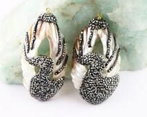 Fashion 5Pcs Natural Shell Duck Pattern Pendant, with Crystal Rhinestone Paved Druzy Seashell Pendants For Jewelry Making