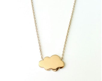 Necklace gold plated cloud 750/00 - small collar cloud, gold plated necklace 750/000 - little cloud neklace, 750 yellow gold plated
