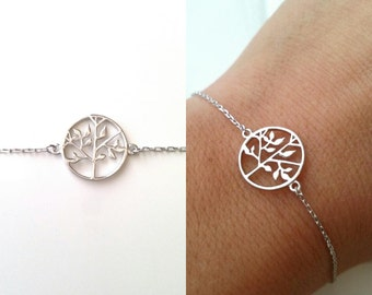 925 silver bracelet / medal engraved - tree of life symbol strength - rhodium-plated Silver 925/000 - sterling silver 925